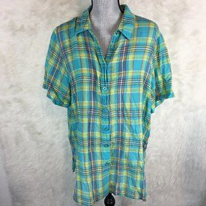 🌈 Avenue Plus Size Button Down Shirt Blouse Plaid